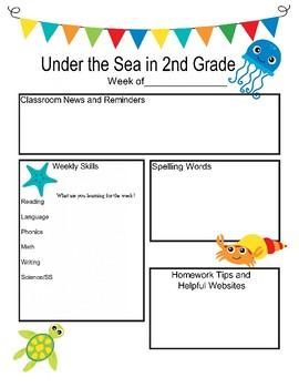 2nd grade Newsletter Ocean Theme