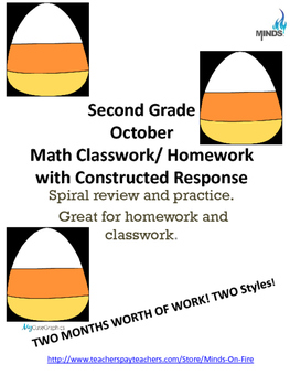 2nd grade October Math class/homework. Spiraling review & constructed response