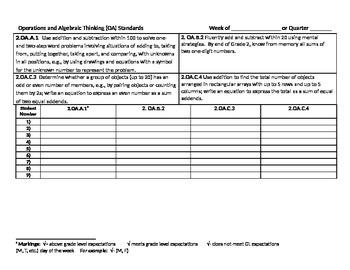 2nd grade Operations & Algebraic Thinking Standard Trackers