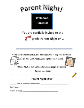 2nd grade Parent Night or Parent Workshop Letter/ Invitation