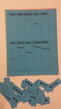 2nd grade Sight Word Font Discrimination Sort