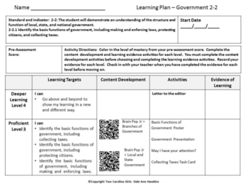2nd grade Social Studies Personalized Learning Government Unit
