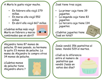 2nd grade Spanish 2.4C/2.OA.A.1 Word Problems