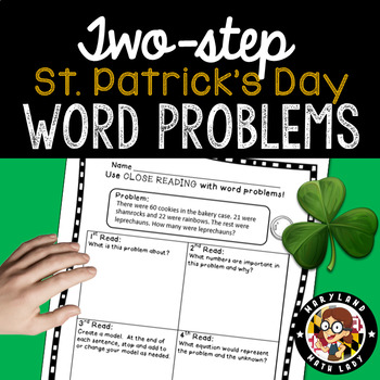 2nd grade St. Patrick's Day Two Step Word Problems - Close Reading!