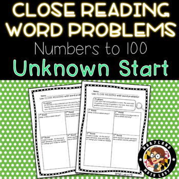 2nd grade Start Unknown Word Problems - Close Reading!