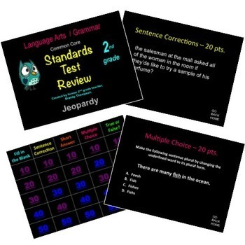 2nd grade Grammar Review Games (3 part Bundle) Common Core Language Standards