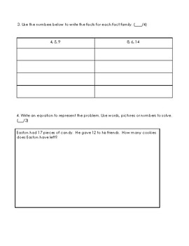 2nd grade Math Unit 1 (Pre) Assessment Sums and Differences to 100