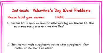 2nd grade Valentine Math Word Problems