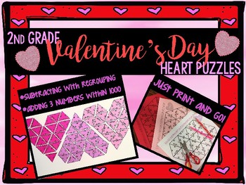 2nd grade Valentine's Day Heart Puzzle math center