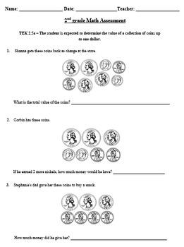 2nd grade coins assessment