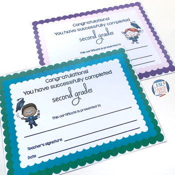 Second Grade End of the Year Certificates