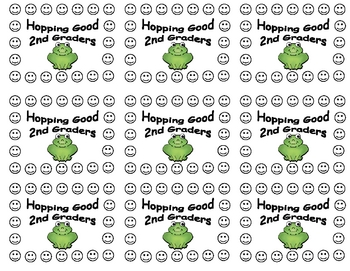 2nd grade frog theme punch cards