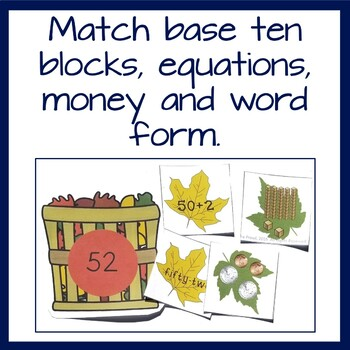 2nd grade math center- Number match game- all the leaves are falling