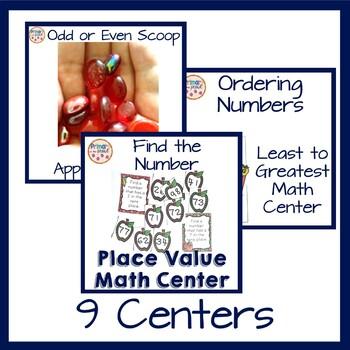 2nd grade math centers- apple themed