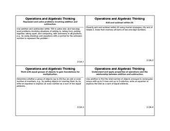 2nd grade math common core cards