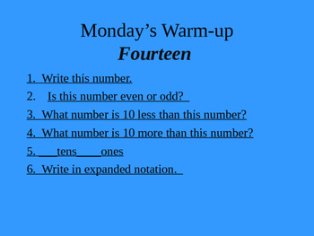 2nd grade math warmup