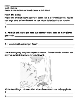 2nd grade NG Science - Habitats (Ch 3) Study Guide & Test PDF