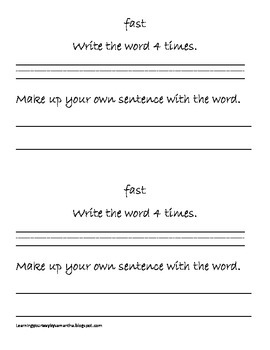 2nd grade sight words book 1