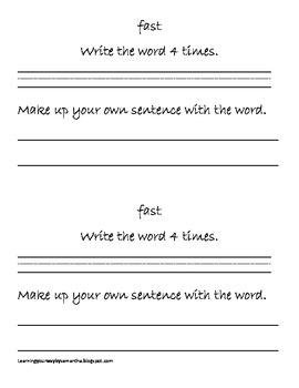 2nd grade sight words book 1