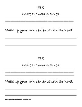 2nd grade sight words book 20