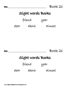 2nd grade sight words book 21