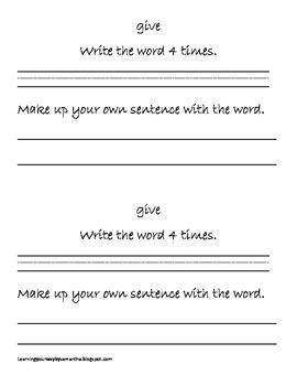 2nd grade sight words book 6