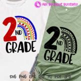 2nd grade svg Rainbow print Bundle Second grade shirt