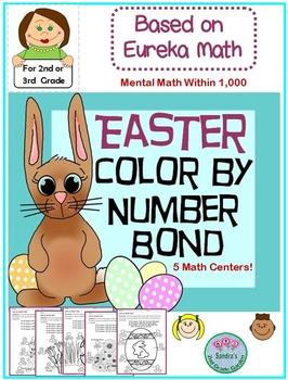2nd or 3rd Grade Easter Color by Number Bond / Based on Eu