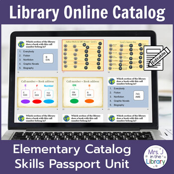 2nd or 3rd Grade Library Catalog Skills Passport Unit