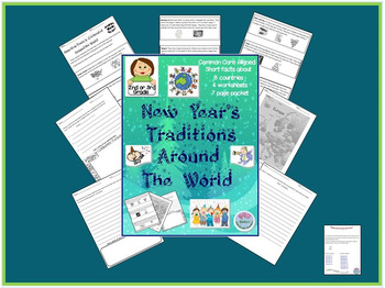 """2nd or 3rd Grade """"New Year Traditions Around the World"""" Common Core Aligned"""
