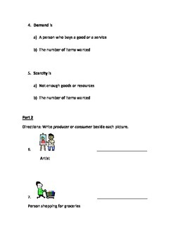 2nd or 3rd Grade Producers, Consumers, Supply, Demand Economics Quiz