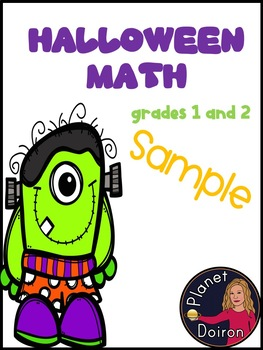 1st-2nd grades Halloween math sample page FREEBIE