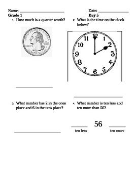2nd set of Five Easy Steps Math Review Sheets Grade 1