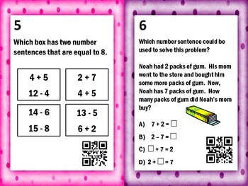 2nd/3rd Grade Addition Subtraction Fact Family Task Cards with QR Codes