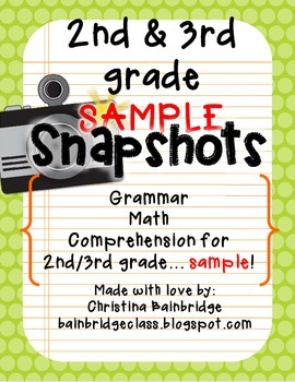 2nd/3rd Grade SNAPSHOTS Sample CCSS Aligned Assessments {T