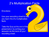 2's Multiplication Facts Interactive Powerpoint with Recor