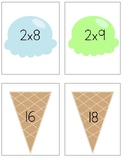 Multiplying by 2 Flash Cards Ice Cream Theme