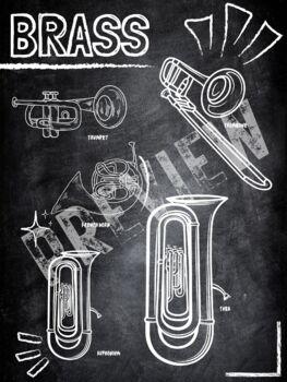 Instrument Family Poster Bundle (chalkboard theme)