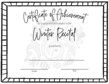 Recital Achievement Certificate Bundle