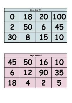 2x 5x 10x Multiplication Facts (Multiplication Bingo)