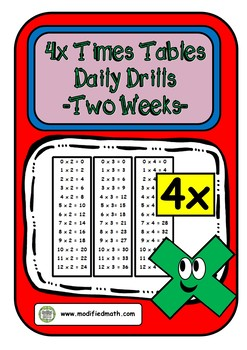 4x Times Table Daily Drills