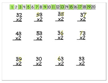 2x with 2 digit multiplication with dots and table