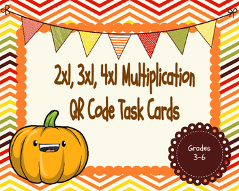 2x1, 3x1, and 4x1 Multiplication QR Code Task Cards (Fall Themed)