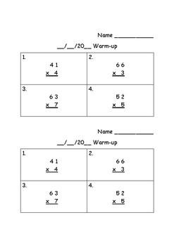 2x1 Digit Multiplication Warm-up