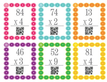 2x1 digit Multiplication Task/Scoot Cards with QR Codes!