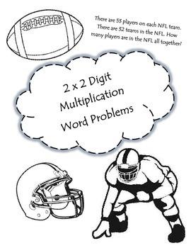 2x2 Digit Multiplication (Football Themed): 4.NBT.5 / 4.OA.2