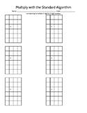 2x2 Digit Multiplication Standard Algorithm Paper *NBT.B.5*