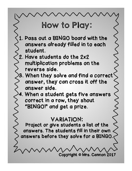 2x2 Multiplication Backwards BINGO