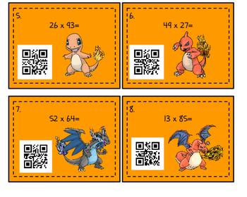 2x2 Multiplication QR Code Task Cards (Pokemon Themed)