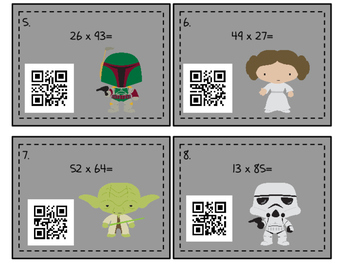2x2 Multiplication QR Code Task Cards (Star Wars Themed)
